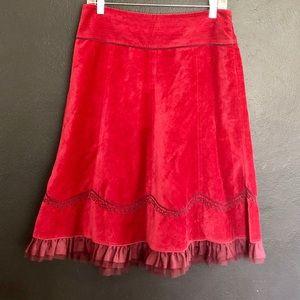 Cranberry Velvet Skirt